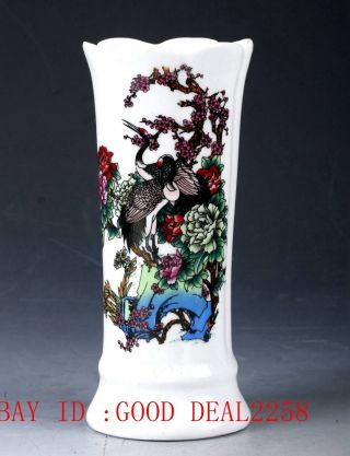 Chinese Porcelain Hand - Painted Plum Flower&bird Vase W Qing Qianlong Mark Cqqt27 photo