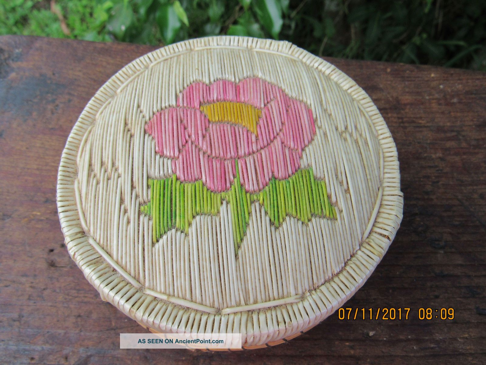 Vintage Minnesota Birch Bark & Porcupine Quill Basket Circa.  1947 Native American photo