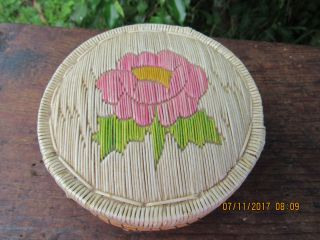 Vintage Minnesota Birch Bark & Porcupine Quill Basket Circa.  1947 photo
