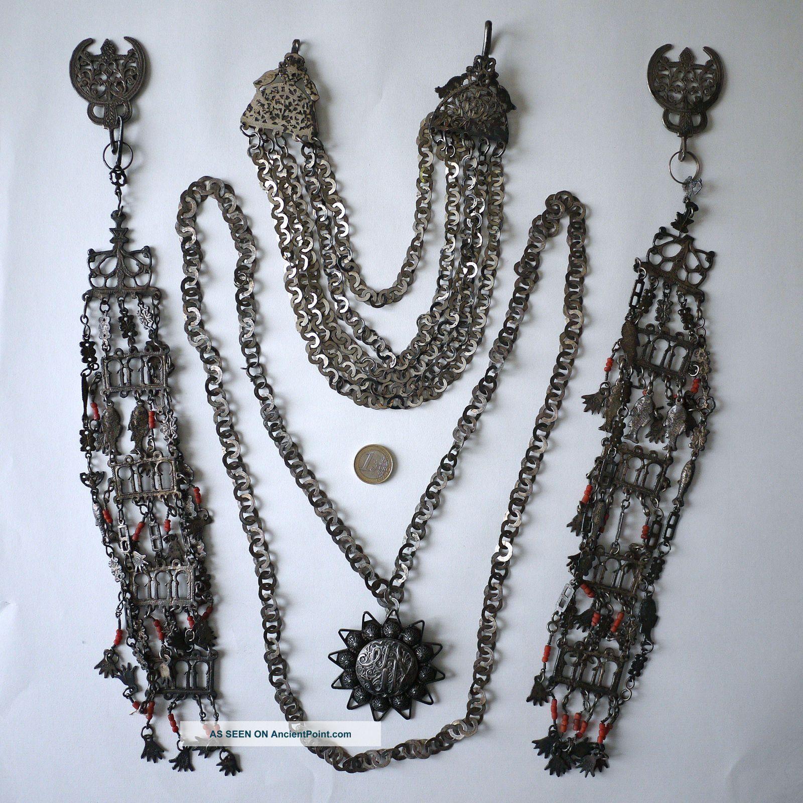 Tunisian Berber Women ' S Tribal Headdress/wedding Jewelry.  Silver,  Coral 1920 Jewelry photo