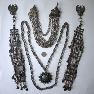 Tunisian Berber Women ' S Tribal Headdress/wedding Jewelry.  Silver,  Coral 1920 photo
