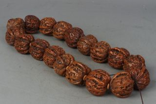 Chinese Exquisite Hand - Carved Walnut Bracelet photo