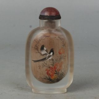 Chinese Exquisite Handmade Inside Painting Flower Bird Poetry Glass Snuff Bottle photo