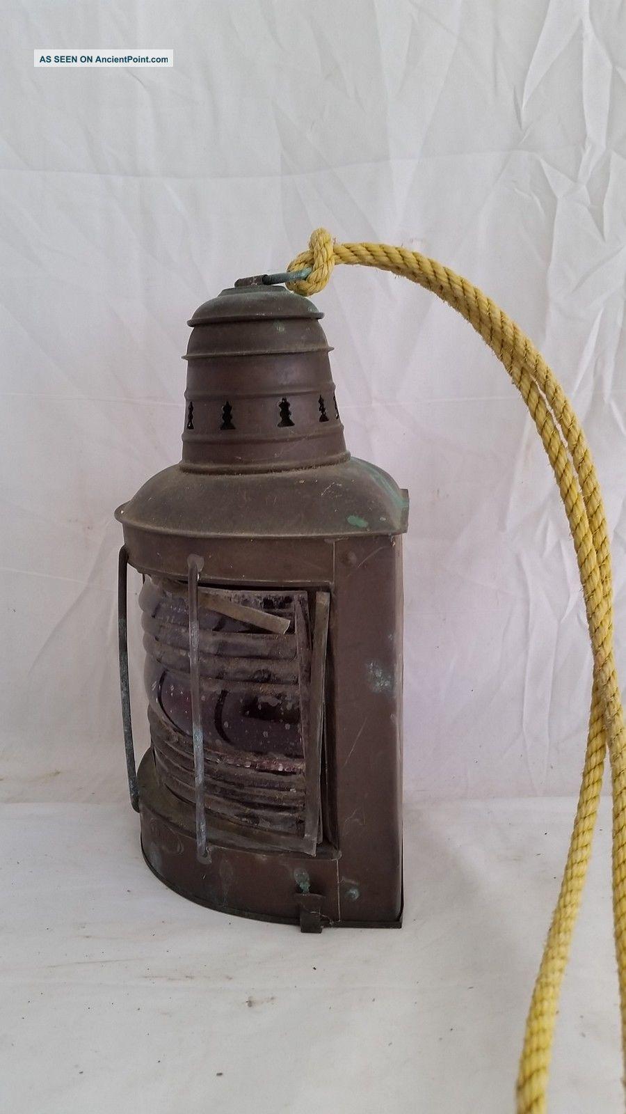 Antique Helvig ' S Copper Ship Red Port Running Light,  Kerosene Lamp,  Fresnel Lens Lamps & Lighting photo
