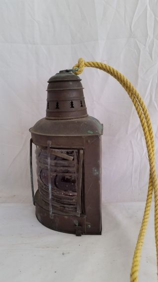 Antique Helvig ' S Copper Ship Red Port Running Light,  Kerosene Lamp,  Fresnel Lens photo