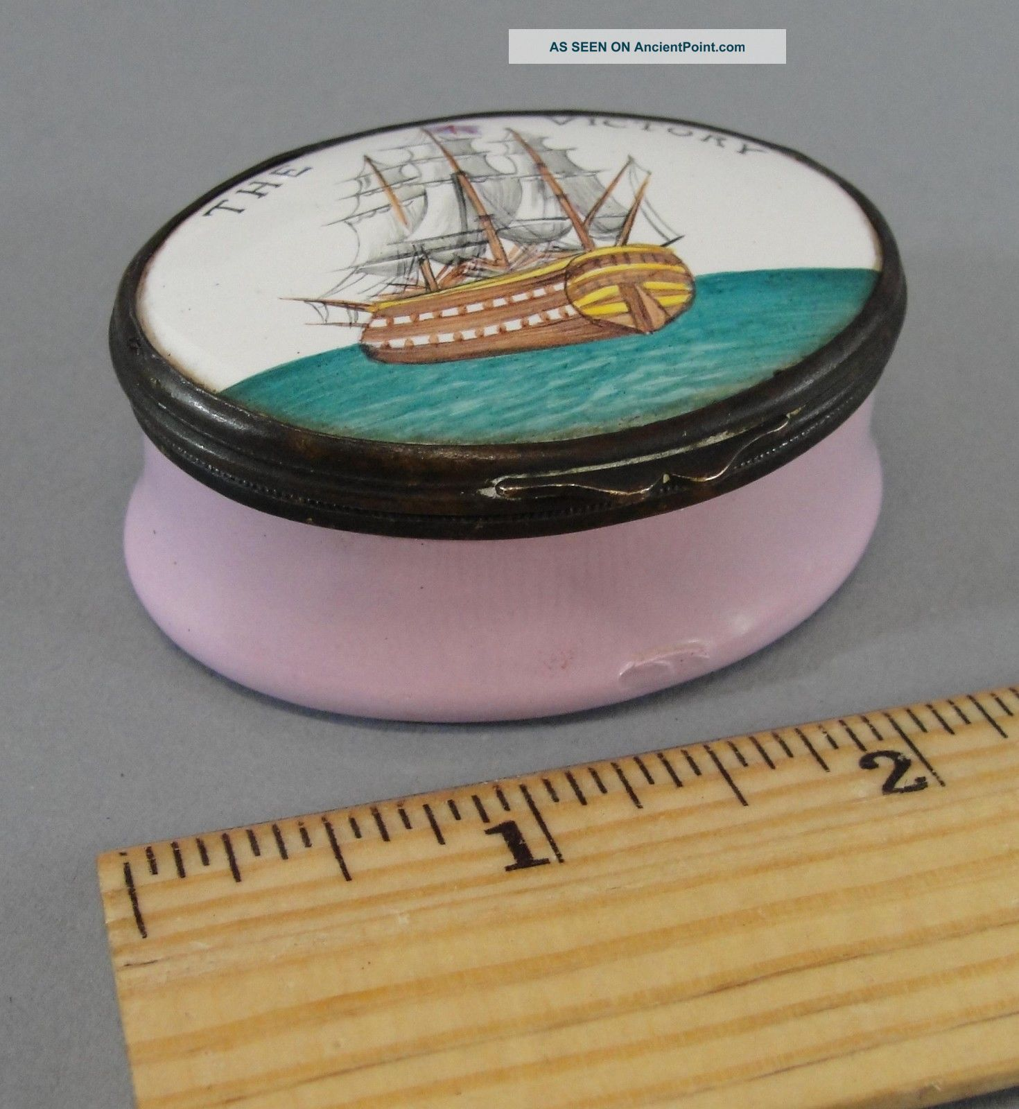 Antique Early 19thc,  Admiral Nelson Ship Hms Victory,  Battersea Enamel Box Nr Folk Art photo