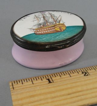 Antique Early 19thc,  Admiral Nelson Ship Hms Victory,  Battersea Enamel Box Nr photo