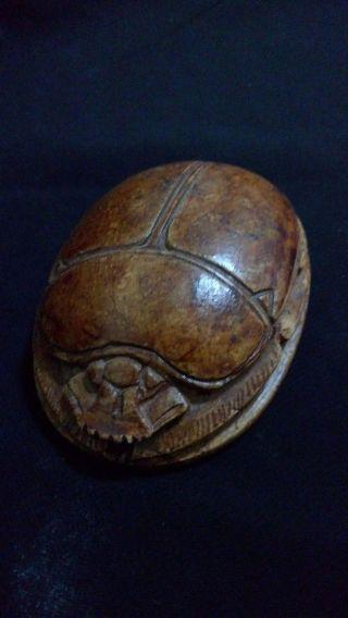 Rare Ancient Egyptian Brown Scarab (300 - 30 Bc) photo
