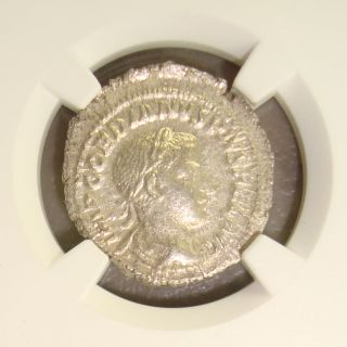 Ad 238 - 244 Gordian Iii Ancient Roman Silver Denarius Ngc Ms (state) 4/5 3/5 photo