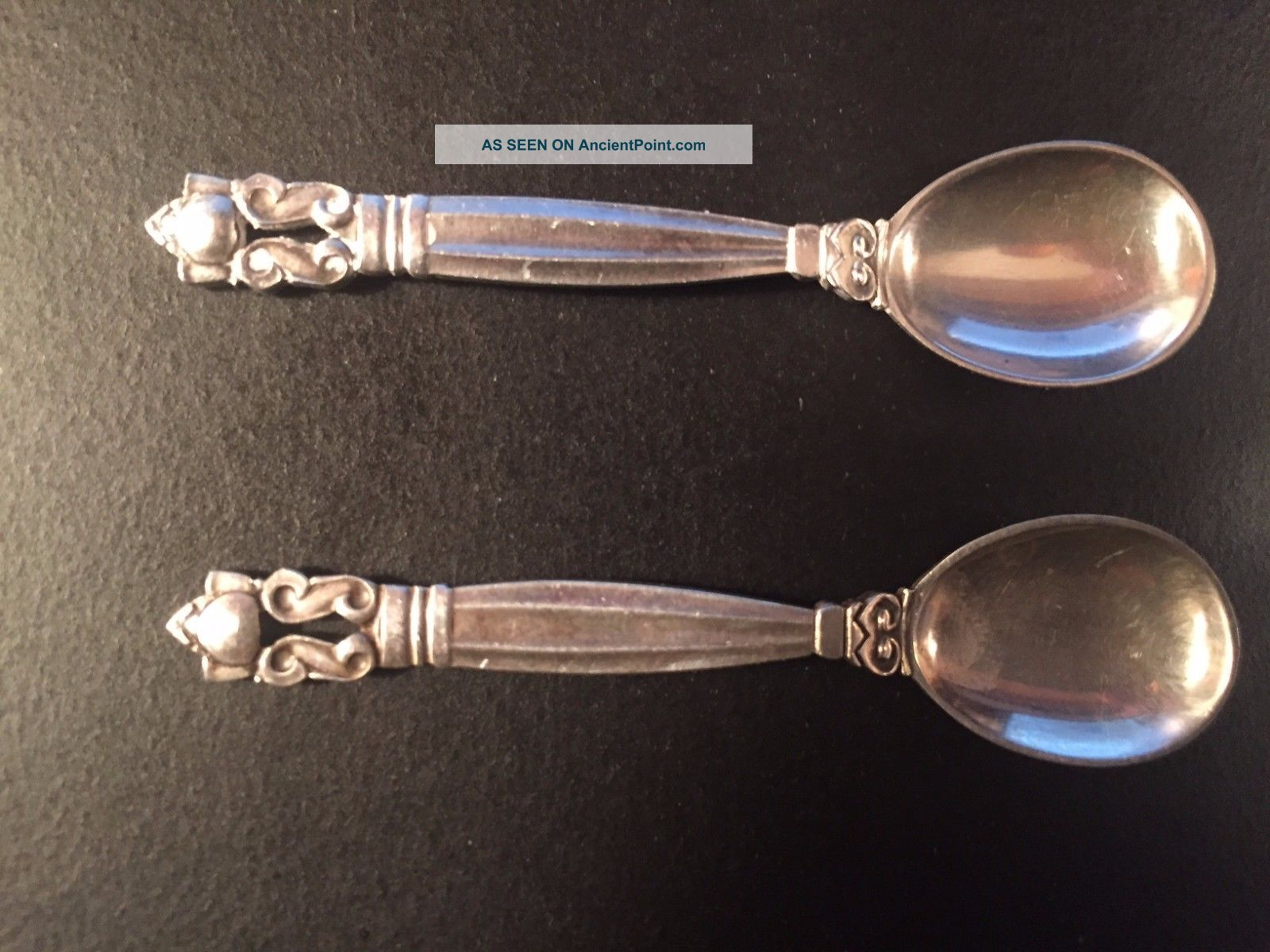 Sterling Silver George Jensen Salt (&/or Pepper) Spoons Acorn Pattern Flatware & Silverware photo