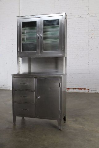 Vintage Stainless Steel Cupboard Industrial Medical Step Back Cabinet photo