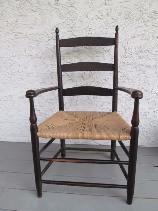 Antique Shaker Arm Chair Stamped 5 On Back Of Chair Museum Quality photo
