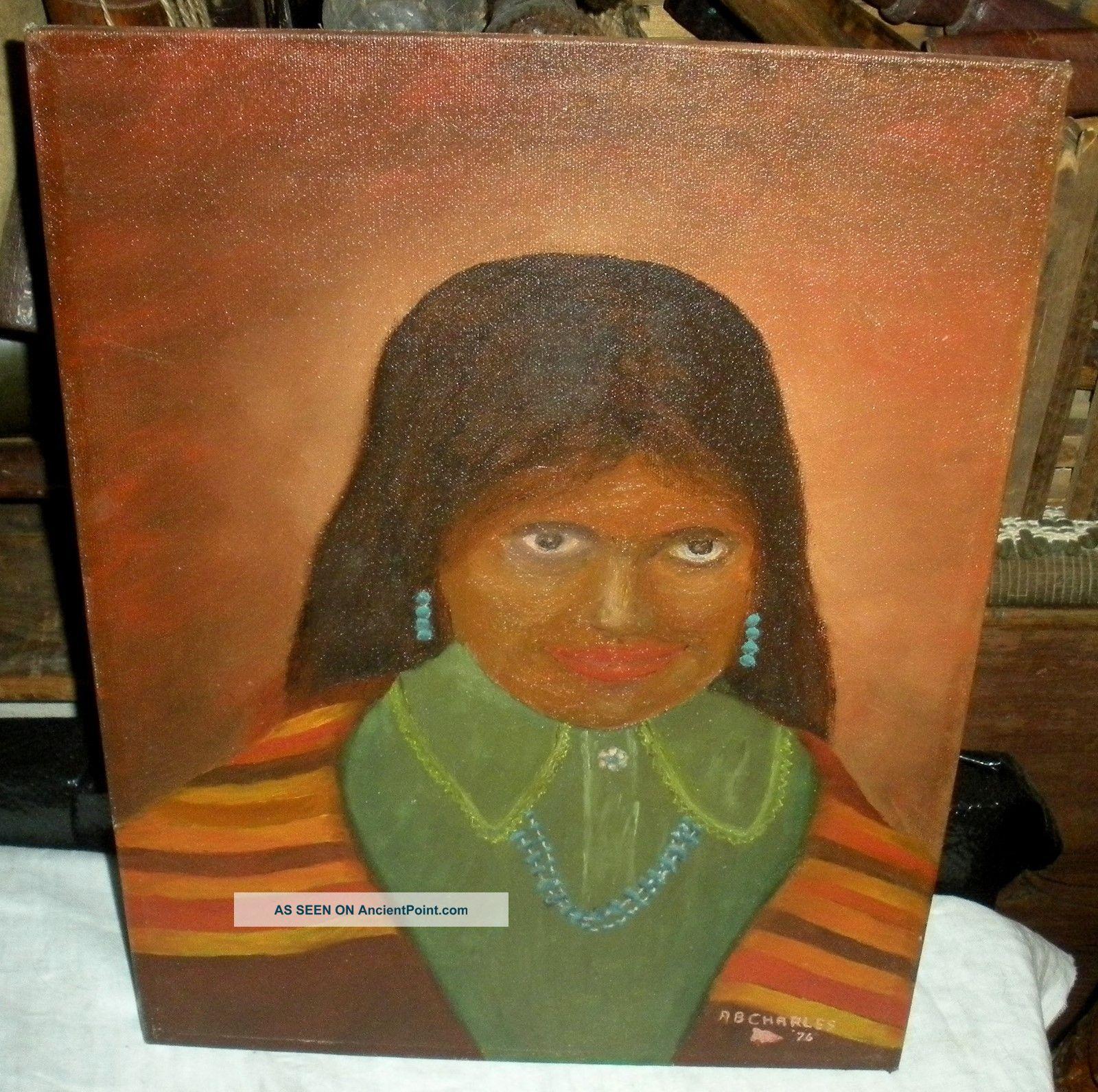 Vintage 1976 Albert Charles Painting Of Navajo Indian Woman Id'd Vafo Native American photo
