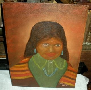 Vintage 1976 Albert Charles Painting Of Navajo Indian Woman Id'd Vafo photo