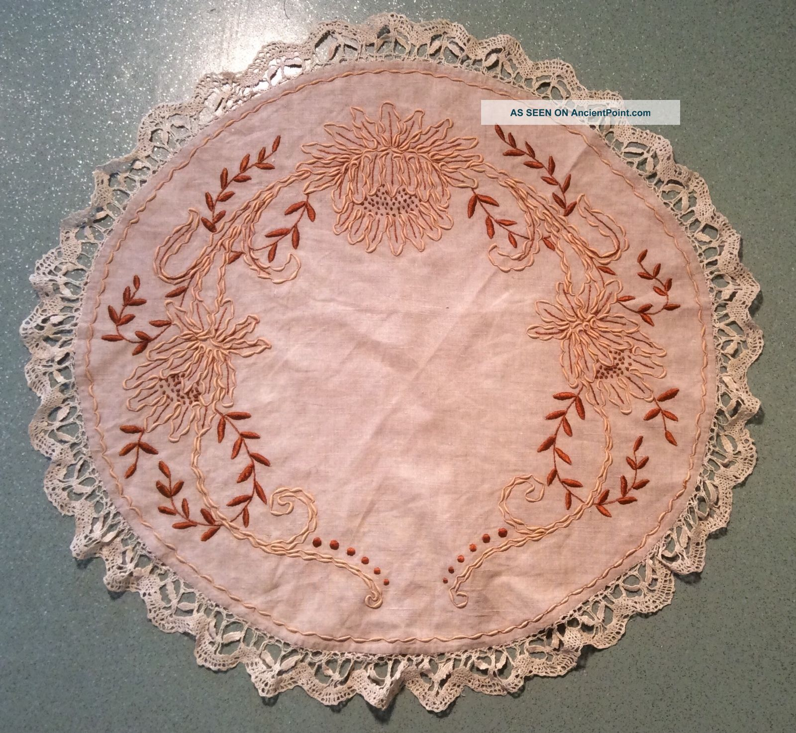 Arts And Crafts Embroidered Round Linen Table Cover 25