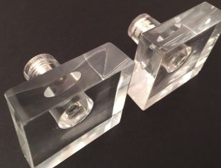 2 Mid Century Square Lucite Drawer Pull Handles 1.  5