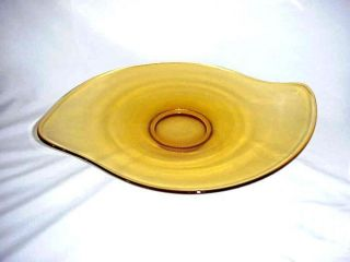 Large Flat Blenko Glass Mid Century Modern Lt.  Amber Centerpiece Dish Tray Plate photo