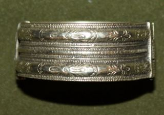 Antique Medieval Greek Floral Cuff Hinged Silver Bracelet photo