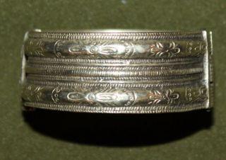Antique Medieval Greek Floral Cuff Hinged Silver Bracelet photo