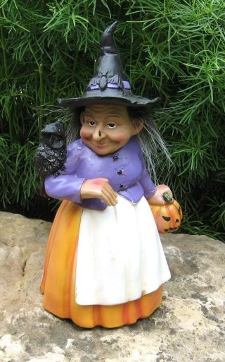 Folk Art Witch Statue Figurine W/pumpkin Black Owl Bat Hat Primitive Fall Decor photo