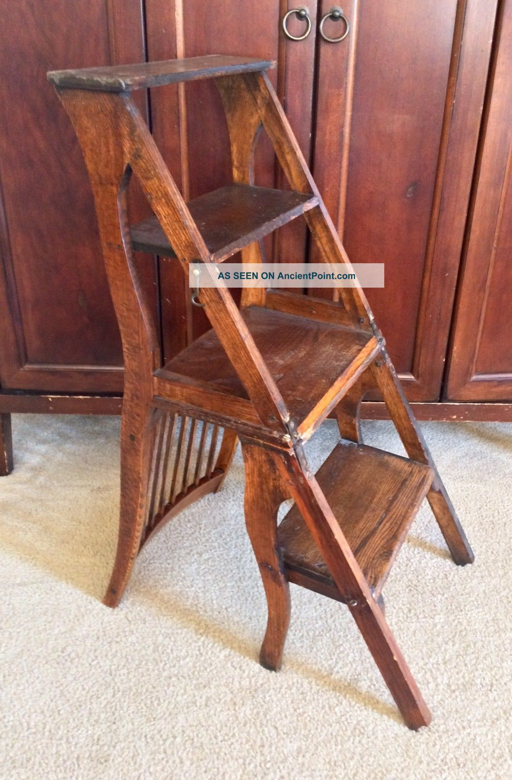 Unique Antique Primitive 4 Step Stool Wood Folding