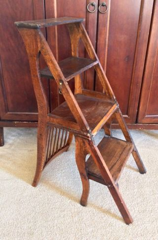 Unique Antique Primitive 4 - Step Stool Wood Folding Ladder Chair photo
