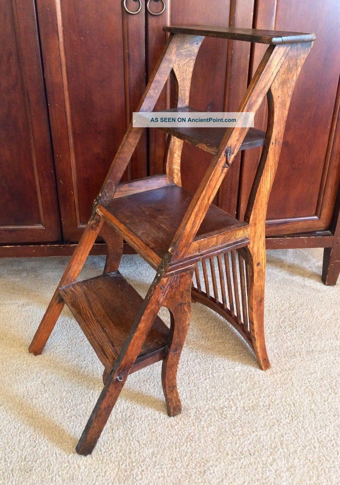 Unique Antique Primitive 4 Step Stool Wood Folding