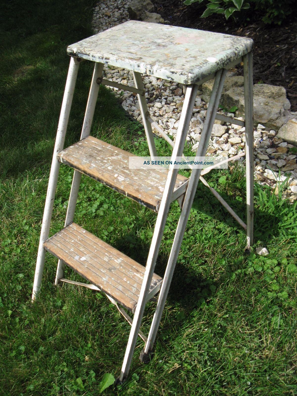 Vintage Durham Co.  Step Ladder All Patina Sturdy Primitives photo
