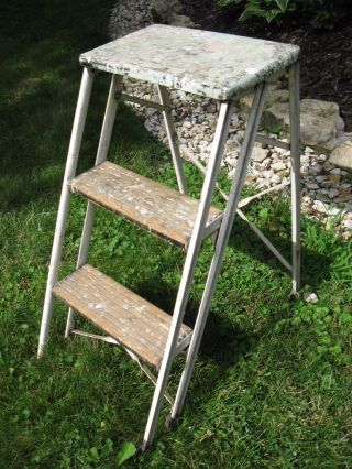 Vintage Durham Co.  Step Ladder All Patina Sturdy photo