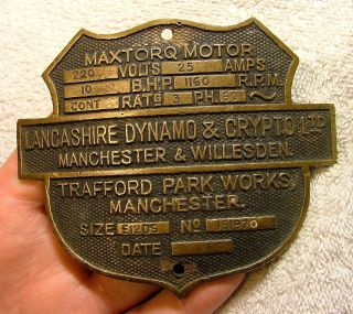Brass Industrial Maxtorq Motor Nameplate British Machine Age Steampunk 1930s? photo