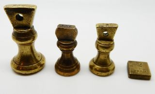3 Small Antique English Brass Bell Weights 1 1 2 Oz & 2 Dram Weight photo