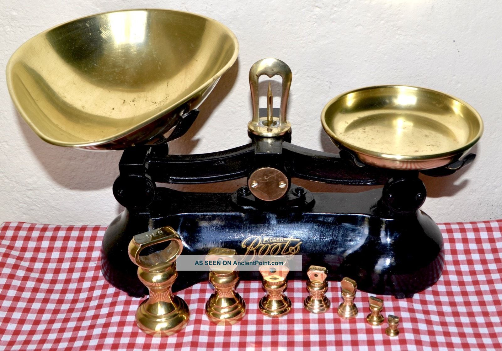 Vintage English Black Boots Cash Chemists Kitchen Scales 7 Brass Bell Weights Scales photo
