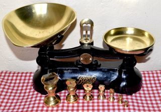 Vintage English Black Boots Cash Chemists Kitchen Scales 7 Brass Bell Weights photo