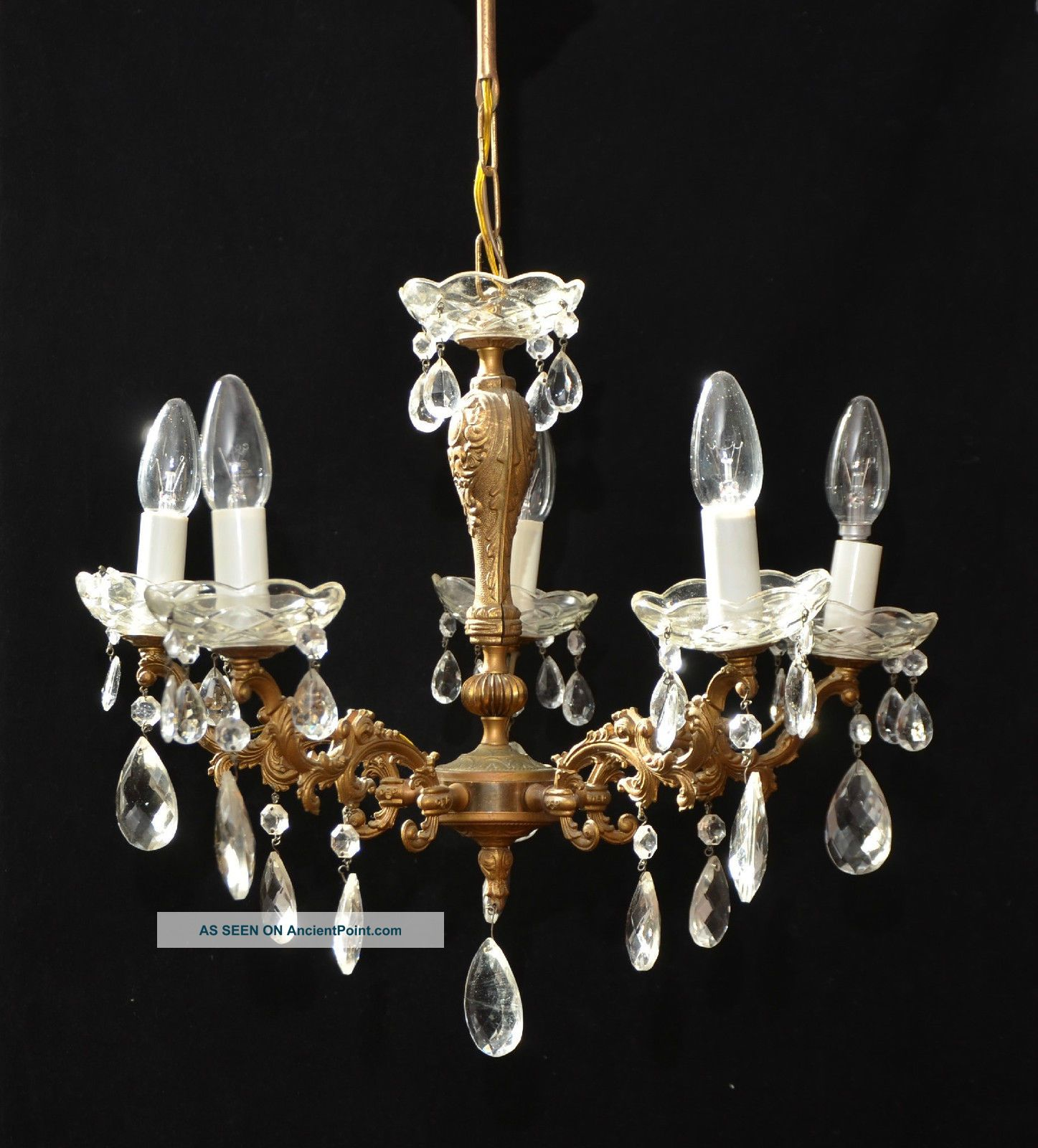 Vintage French 5 Branch Chandelier Ceiling Light Crystals Chandeliers, Fixtures, Sconces photo