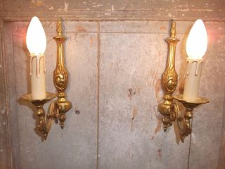 French A Gold Bronze Wall Light Sconces Classic Detailed Vintage photo