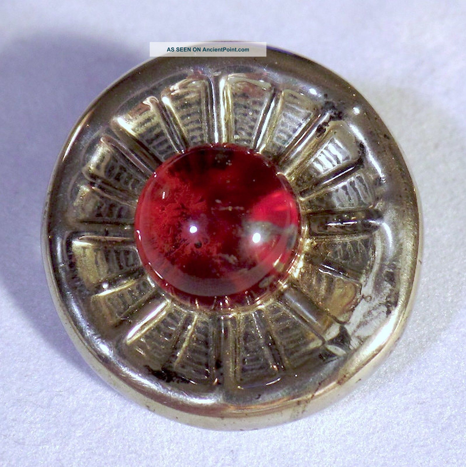 Very Cool Bimini - Type British Wwii Era Glass Button In Silver And Red Colors Buttons photo