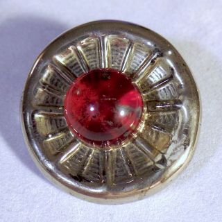 Very Cool Bimini - Type British Wwii Era Glass Button In Silver And Red Colors photo