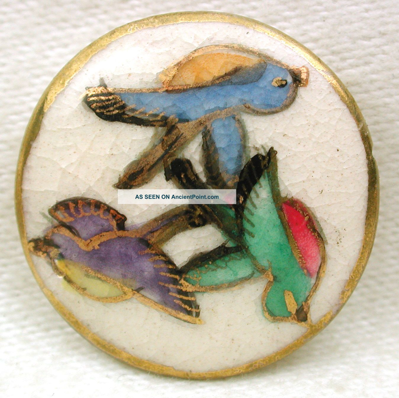 Vintage Satsuma Button Hand Painted Colorful Bird Trio W/ Gold Accents 1
