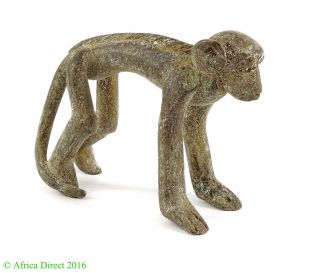 Monkey Goldweight Brass Figurine Asante Ghana African Art photo