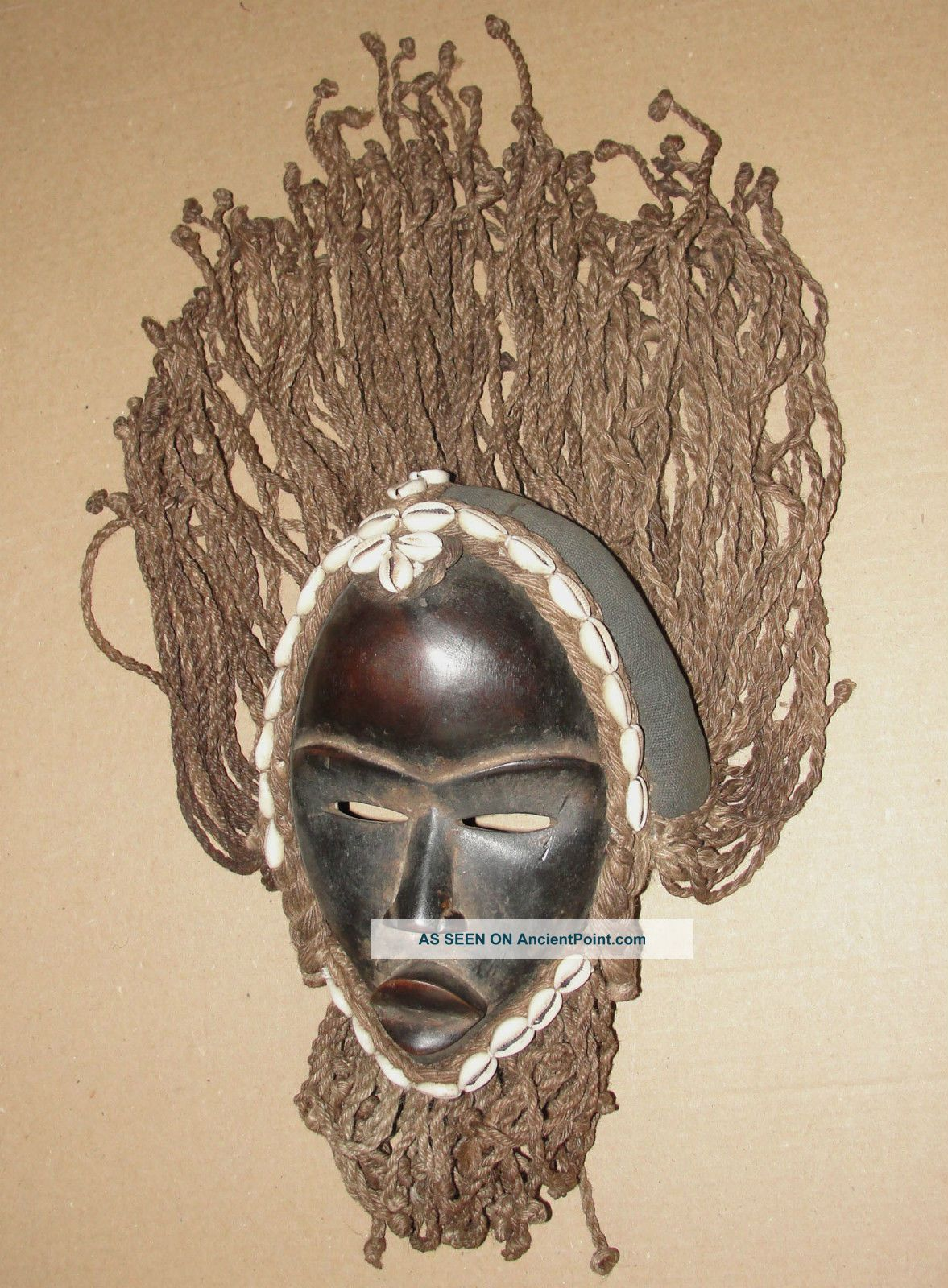 African Headdress Mask Tribal Dan Braid Beard Cowrie Shell Deangle Masque Africa Masks photo