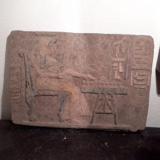 Rare Antique Ancient Egyptian Stela Queen Nefertari Playing Senet 1279–1213 Bc photo