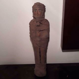 Rare Antique Ancient Egyptian Ushabti Holding Stick Daily Dead Work 1930 - 1870 Bc photo