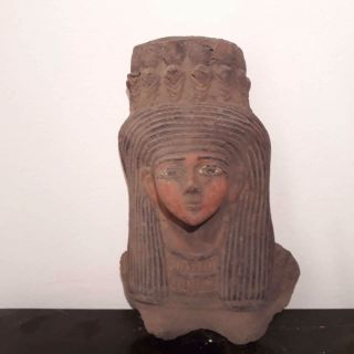 Rare Antique Ancient Egyptian Mask Queen Nefertari Wife Of Ramses photo