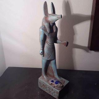 Rare Antique Ancient Egyptian Statue God Anubis & Scarab Malachite 1615 - 1530 Bc photo
