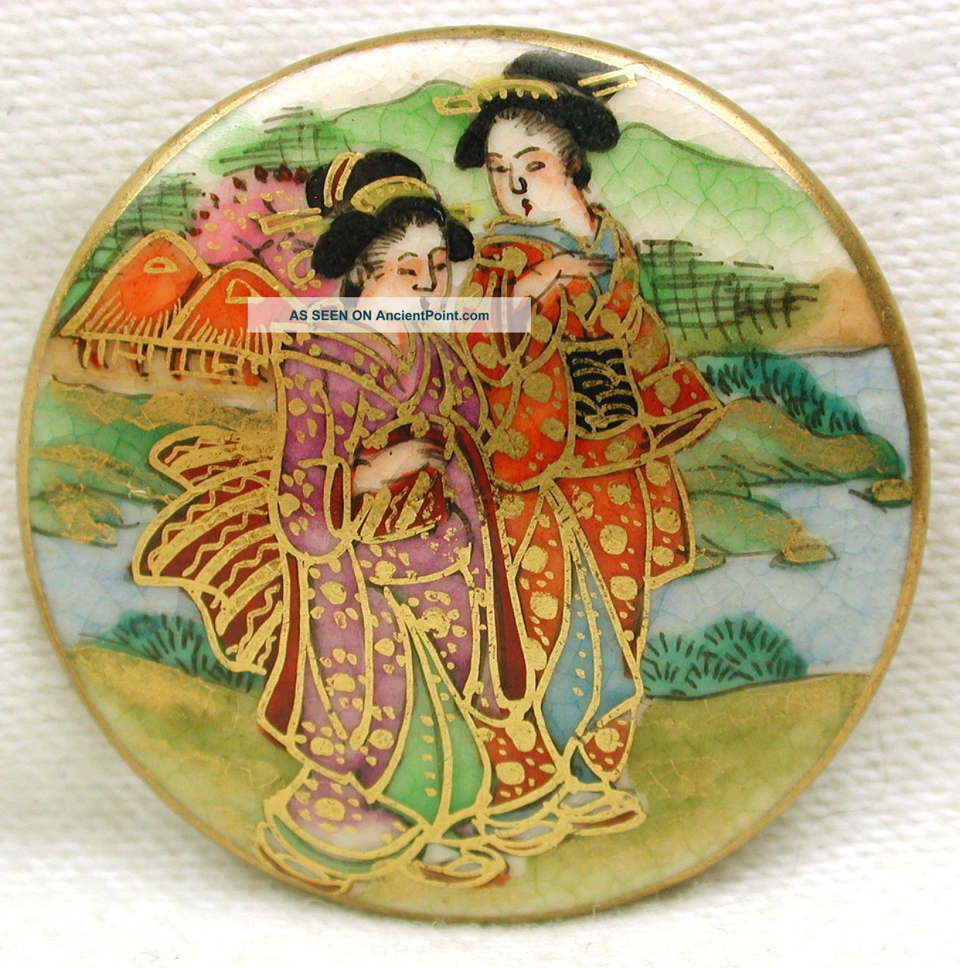 Lg Vintage Satsuma Button Hand Paint 2 Geisha In Kimonos W/gold Accents 1 & 1/4