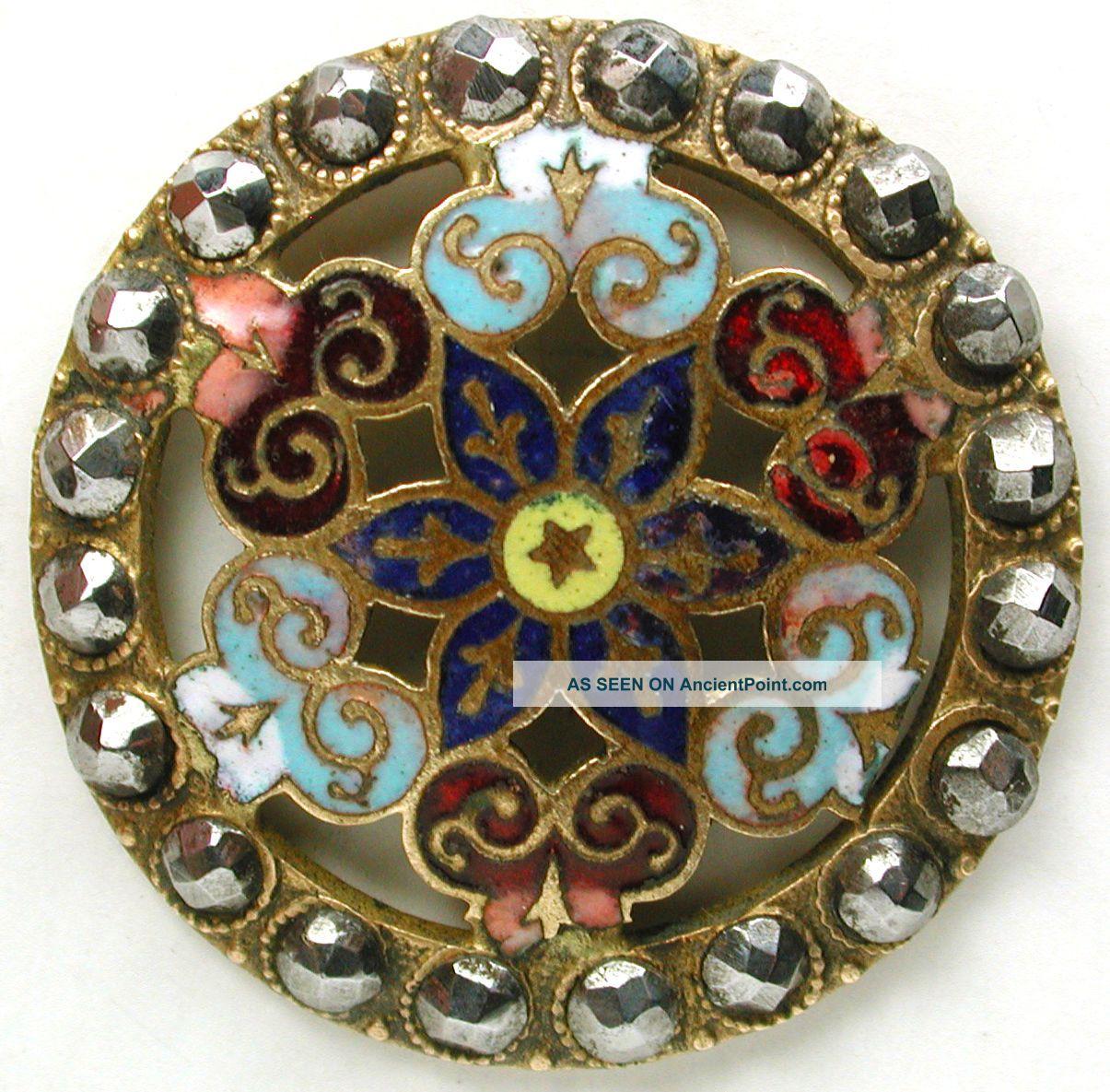 Antique Enamel Button Colorful Pierced Design W/ Cut Steel Border 1 & 1/8