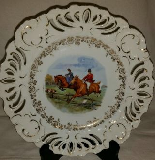 Antique Reticulated English Fox Hunt Cabinet Display Plate photo