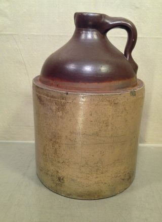 2 Gallon Stoneware Jug With Handle And Spout Bangor Stoneware Co photo
