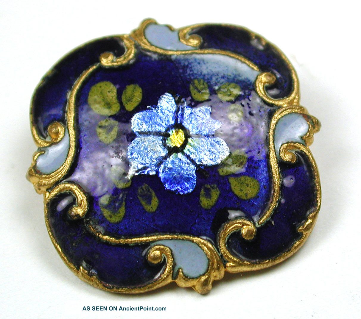Antique Square Cobalt Enamel Button Flowers Over Foil W Fancy Brass Border 15/16 Buttons photo