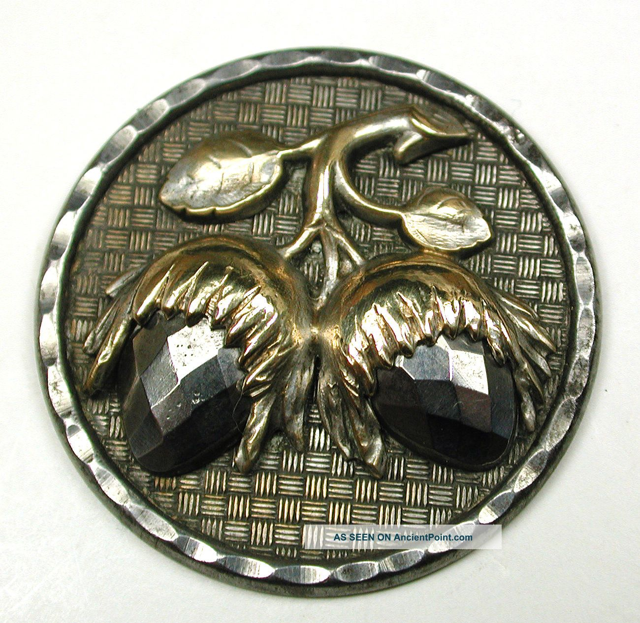 Antique Steel Button Detailed Brass & Cut Steel Hazelnut Design - 1 & 3/16 Buttons photo